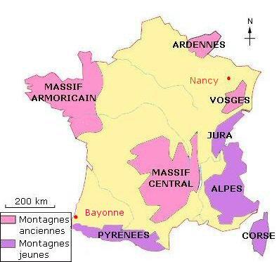 carte de france avec les 5 principales montagnes